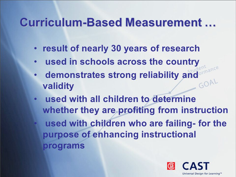 Curriculum-Based Measurement … result of nearly 30 years of research used in schools across the country demonstrates strong reliability and validity used with all children to determine whether they are profiting from instruction used with children who are failing- for the purpose of enhancing instructional programs