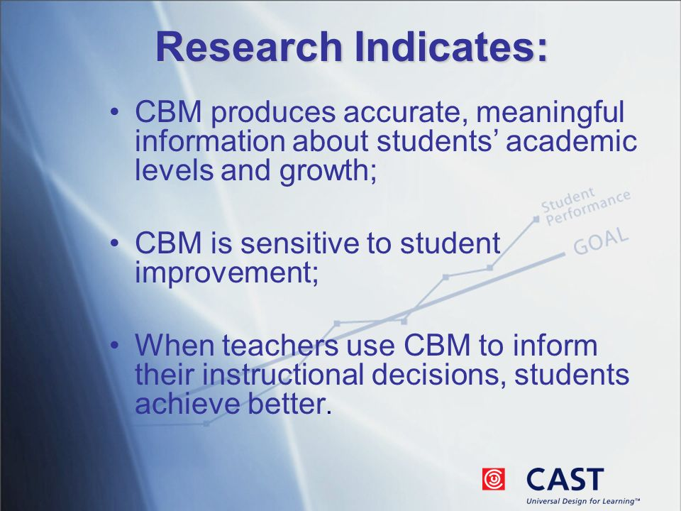 Research Indicates: CBM produces accurate, meaningful information about students academic levels and growth; CBM is sensitive to student improvement; When teachers use CBM to inform their instructional decisions, students achieve better.