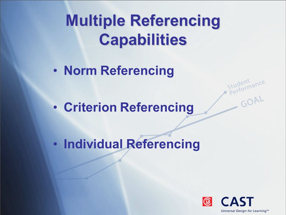 Multiple Referencing Capabilities Norm Referencing Criterion Referencing Individual Referencing