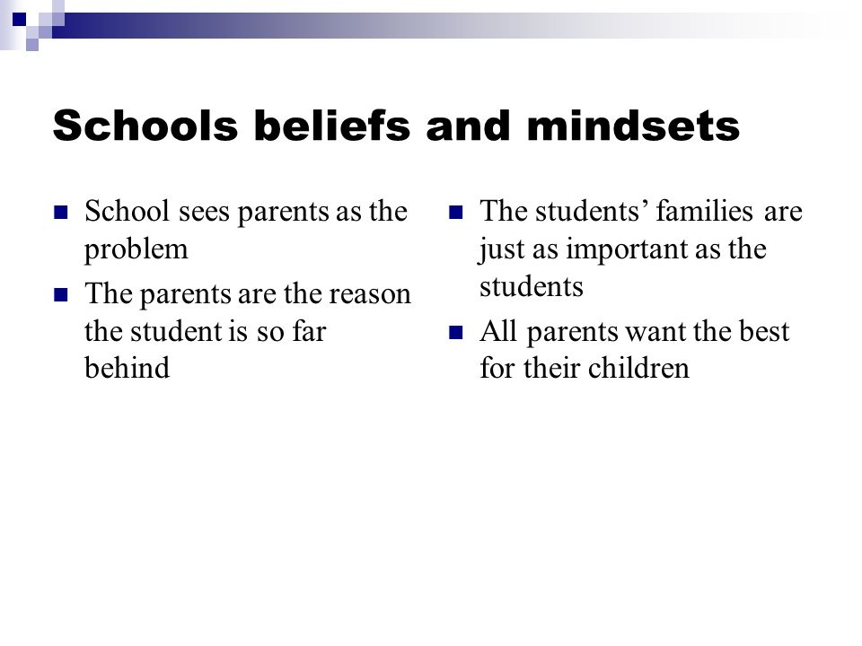 Schools beliefs and mindsets School sees parents as the problem The parents are the reason the student is so far behind The students families are just as important as the students All parents want the best for their children