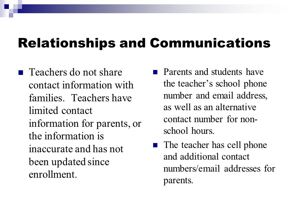 Relationships and Communications Teachers do not share contact information with families.