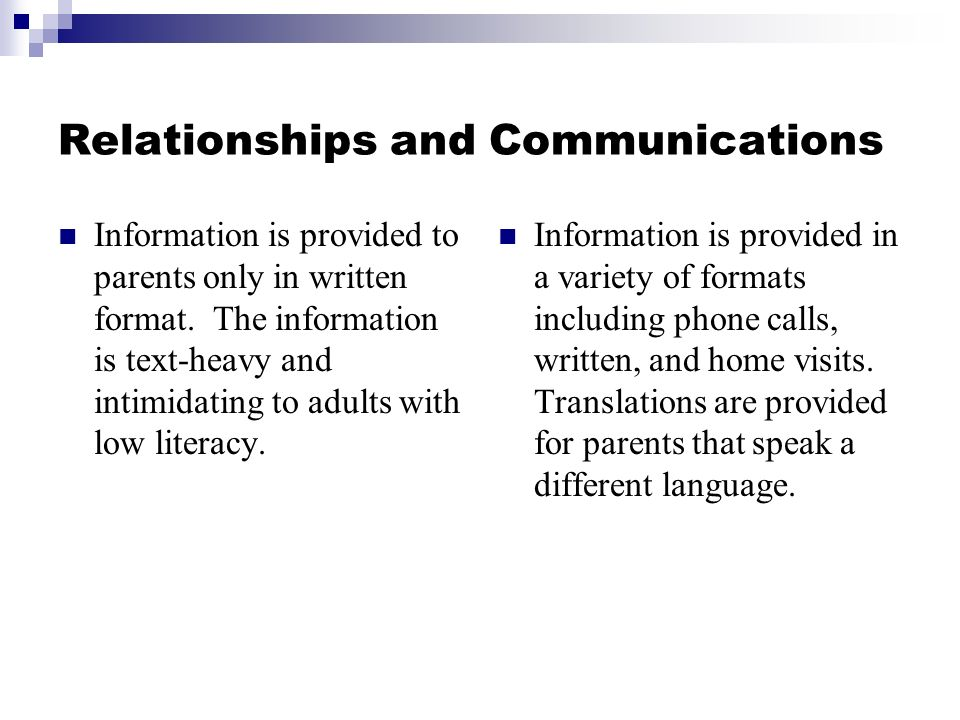 Relationships and Communications Information is provided to parents only in written format.