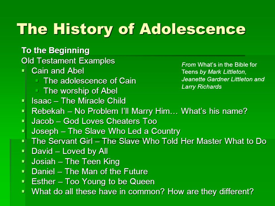 To the Beginning Old Testament Examples Cain and Abel Cain and Abel The adolescence of Cain The adolescence of Cain The worship of Abel The worship of Abel Isaac – The Miracle Child Isaac – The Miracle Child Rebekah – No Problem Ill Marry Him… Whats his name.