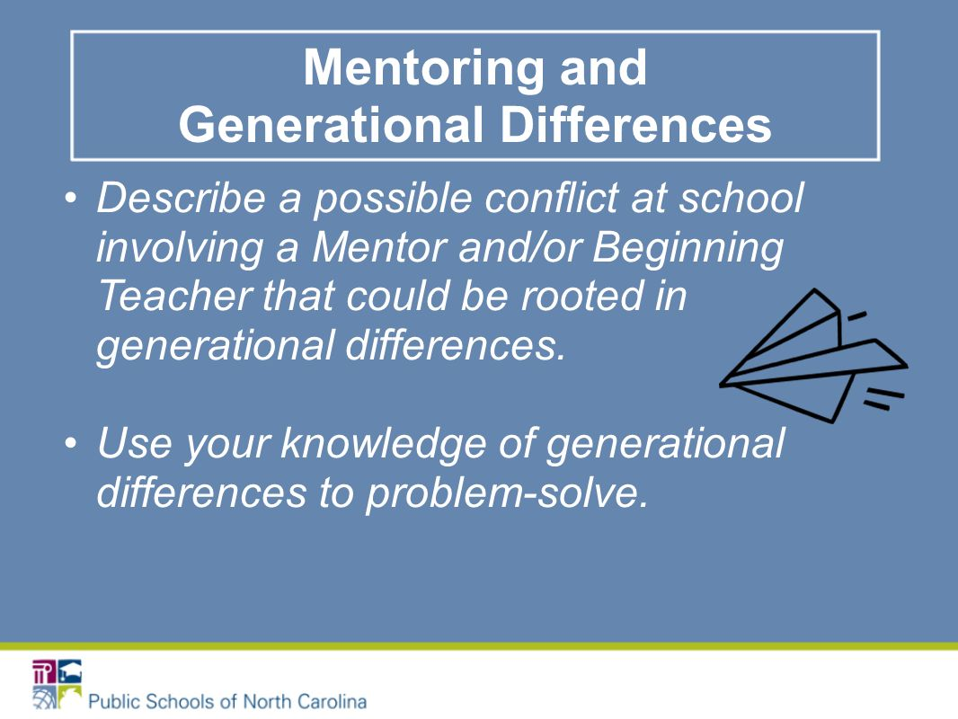 Describe a possible conflict at school involving a Mentor and/or Beginning Teacher that could be rooted in generational differences.