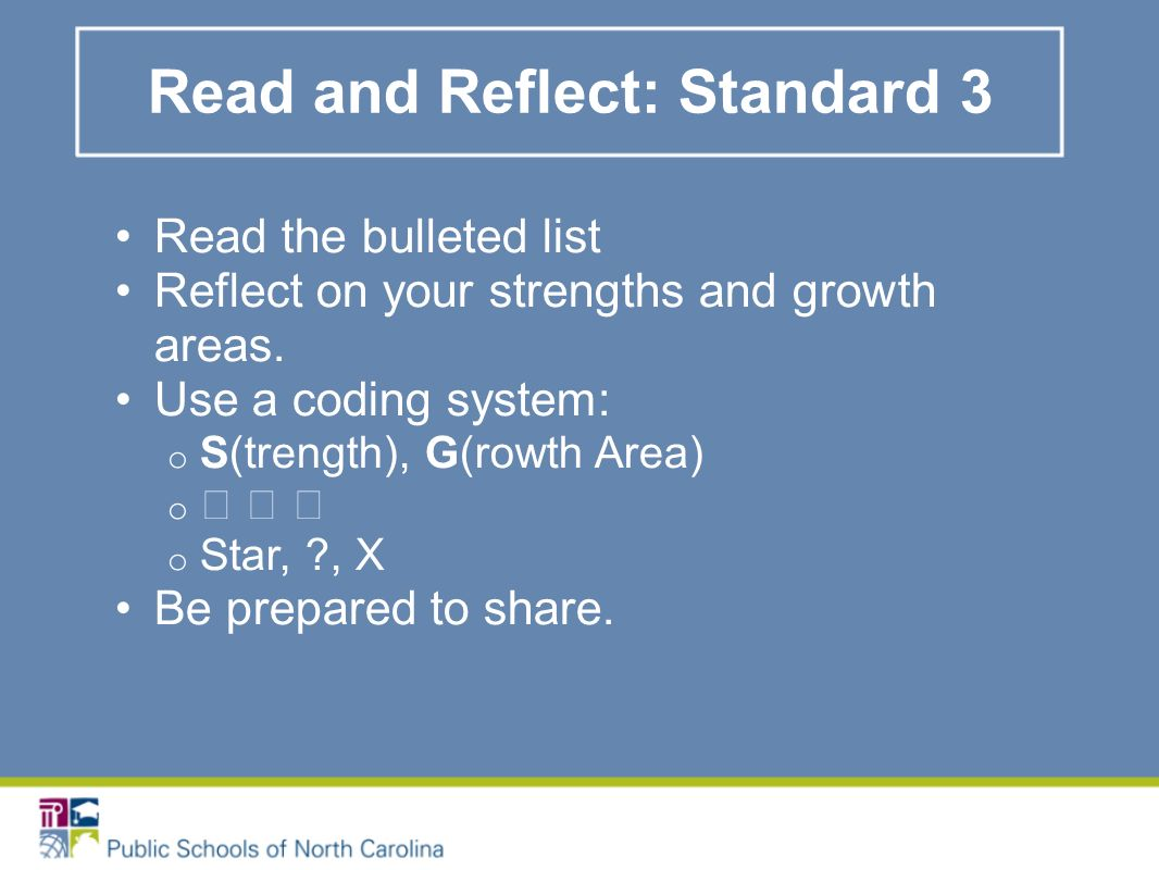 Read and Reflect: Standard 3 Read the bulleted list Reflect on your strengths and growth areas.