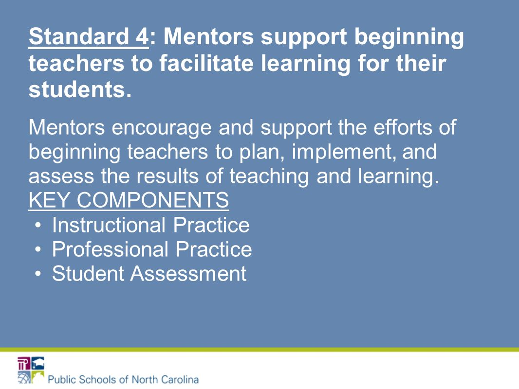 Mentors encourage and support the efforts of beginning teachers to plan, implement, and assess the results of teaching and learning.