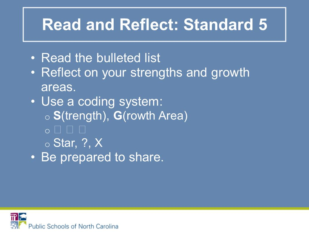 Read and Reflect: Standard 5 Read the bulleted list Reflect on your strengths and growth areas.