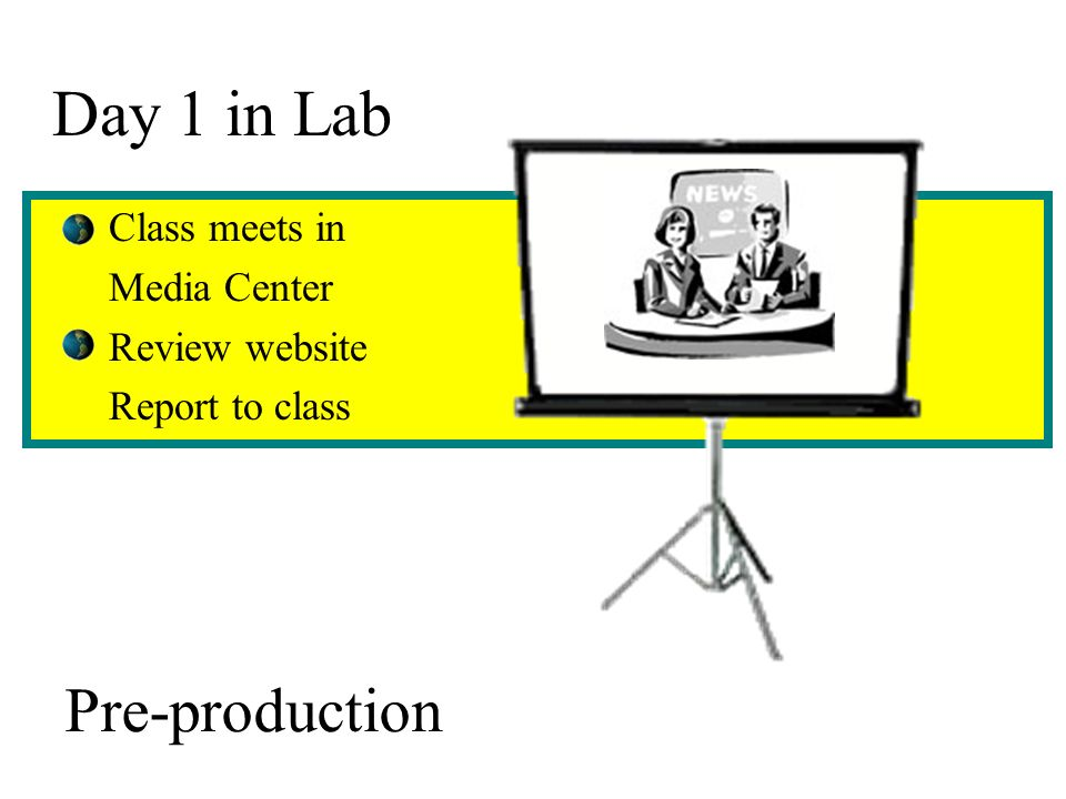 Day 1 in Lab Class meets in Media Center Review website Report to class Pre-production