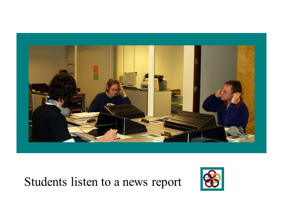 Students listen to a news report