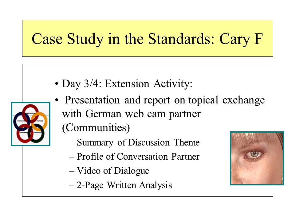 Case Study in the Standards: Cary F Day 3/4: Extension Activity: Presentation and report on topical exchange with German web cam partner (Communities) –Summary of Discussion Theme –Profile of Conversation Partner –Video of Dialogue –2-Page Written Analysis