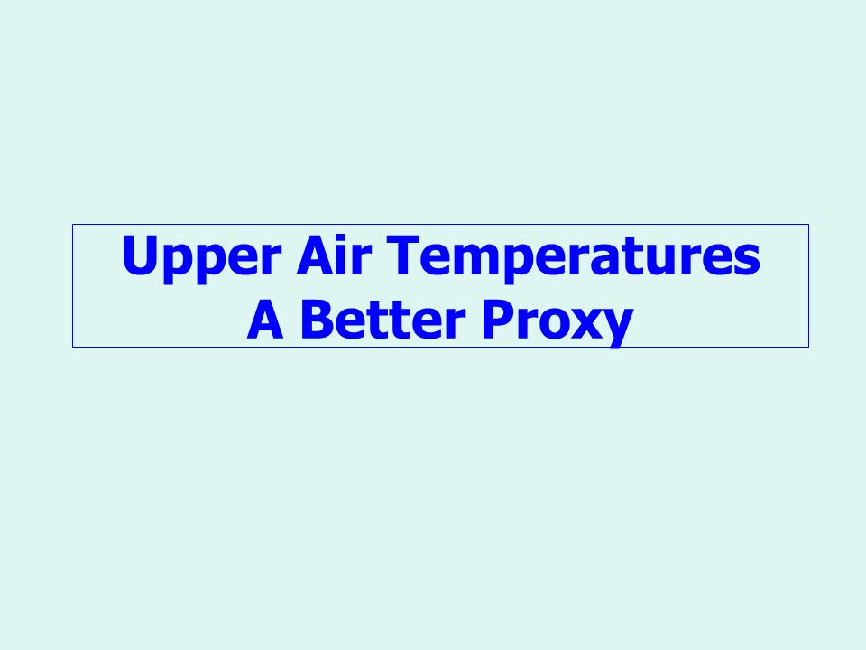 Upper Air Temperatures A Better Proxy