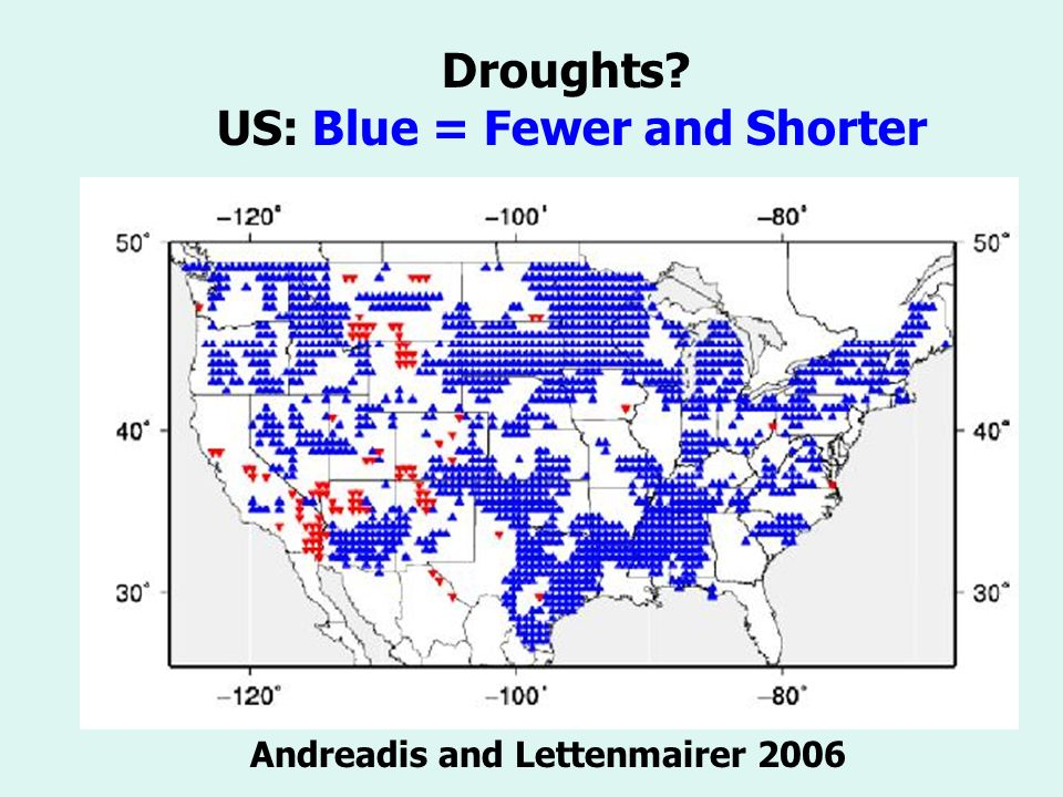 Droughts US: Blue = Fewer and Shorter Andreadis and Lettenmairer 2006