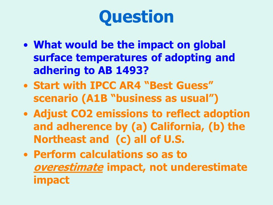 Question What would be the impact on global surface temperatures of adopting and adhering to AB 1493.