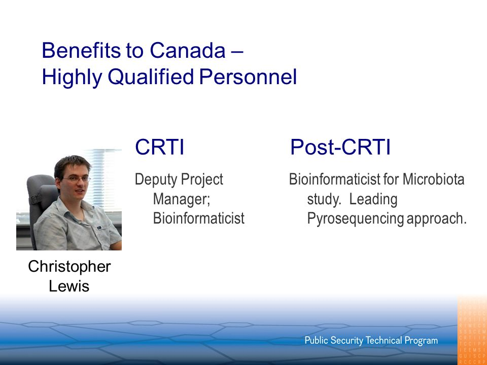 Benefits to Canada – Highly Qualified Personnel Deputy Project Manager; Bioinformaticist Bioinformaticist for Microbiota study.