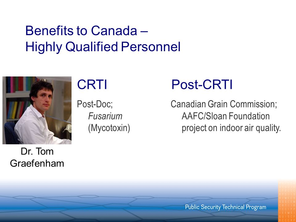 Benefits to Canada – Highly Qualified Personnel Post-Doc; Fusarium (Mycotoxin) Canadian Grain Commission; AAFC/Sloan Foundation project on indoor air quality.