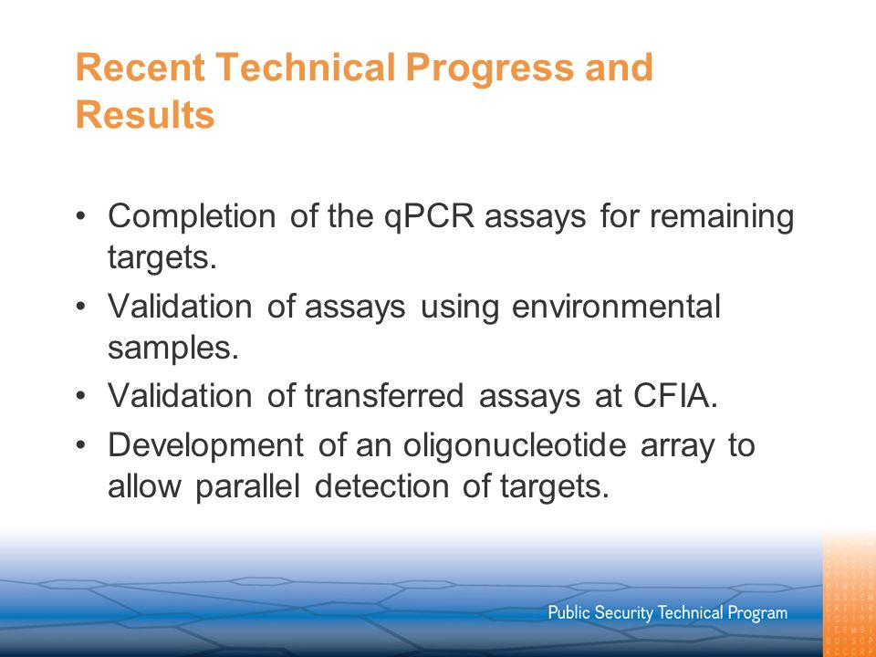 Recent Technical Progress and Results Completion of the qPCR assays for remaining targets.