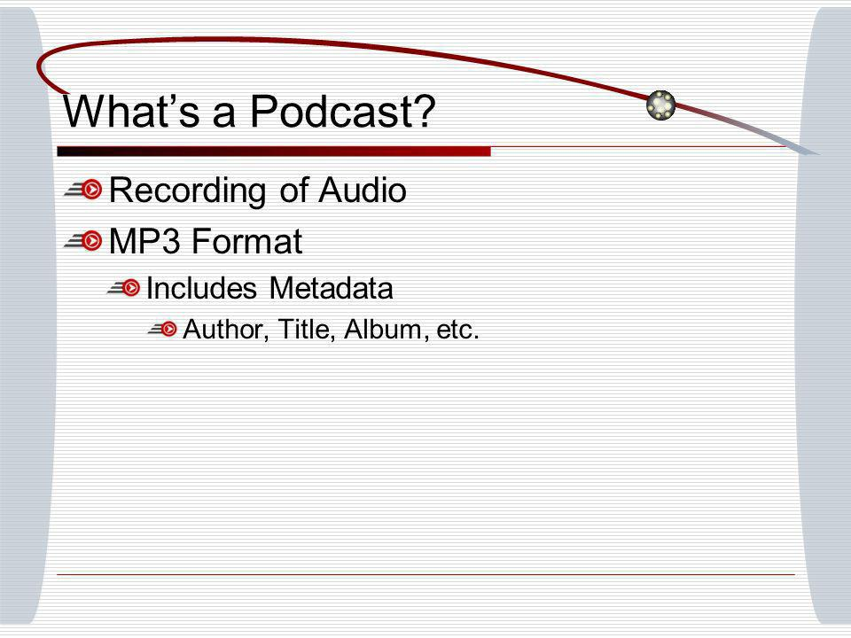 Whats a Podcast Recording of Audio MP3 Format Includes Metadata Author, Title, Album, etc.