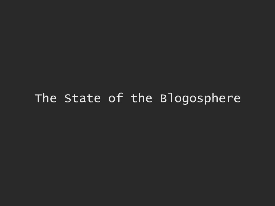 The State of the Blogosphere