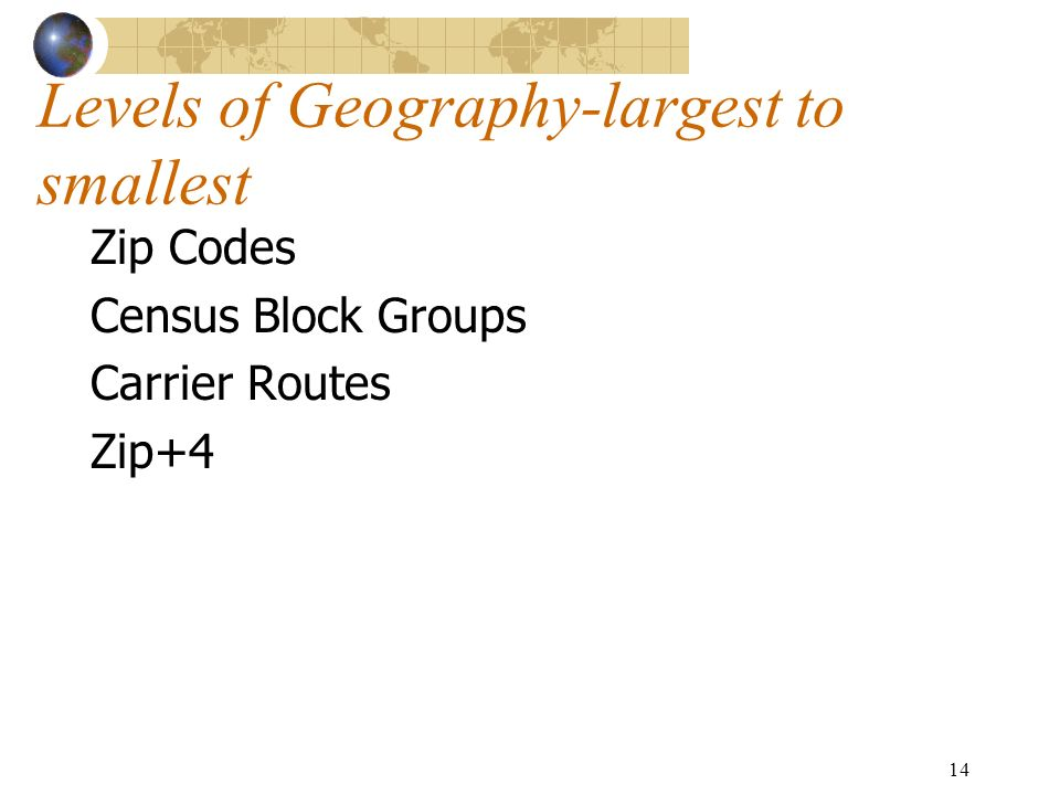 14 Levels of Geography-largest to smallest Zip Codes Census Block Groups Carrier Routes Zip+4