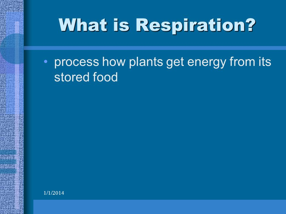 1/1/2014 What is Respiration process how plants get energy from its stored food
