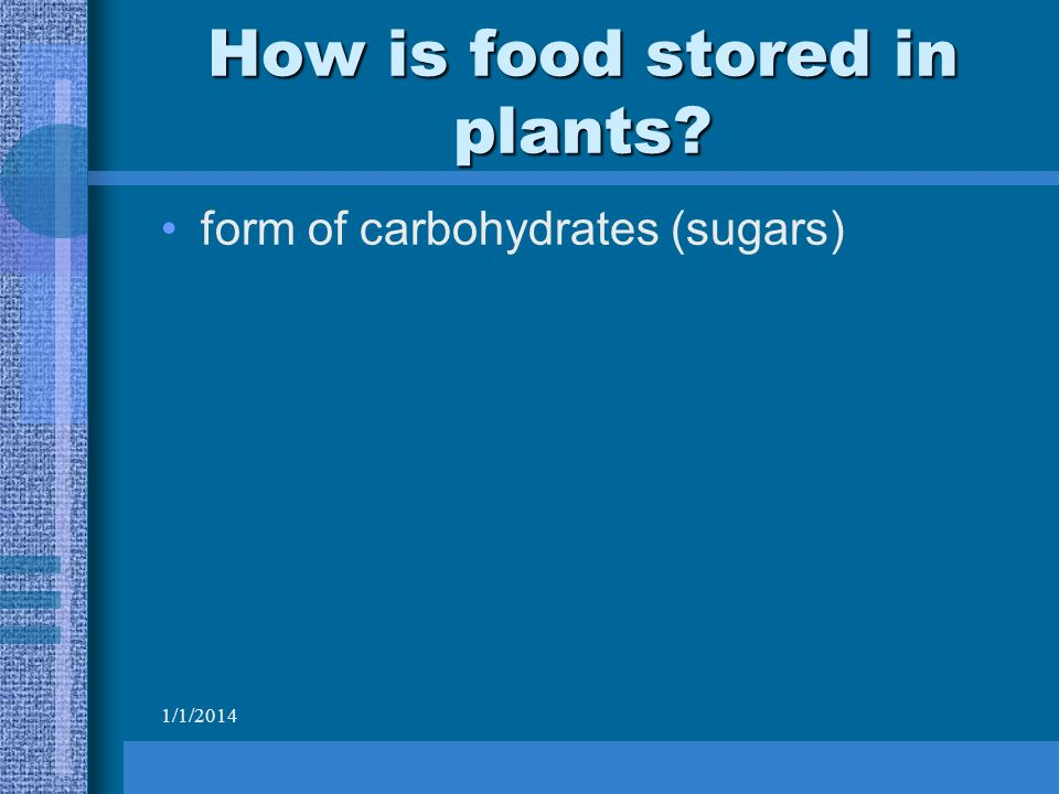 1/1/2014 How is food stored in plants form of carbohydrates (sugars)