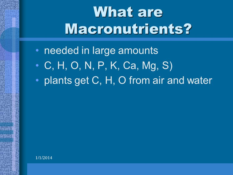 1/1/2014 What are Macronutrients.
