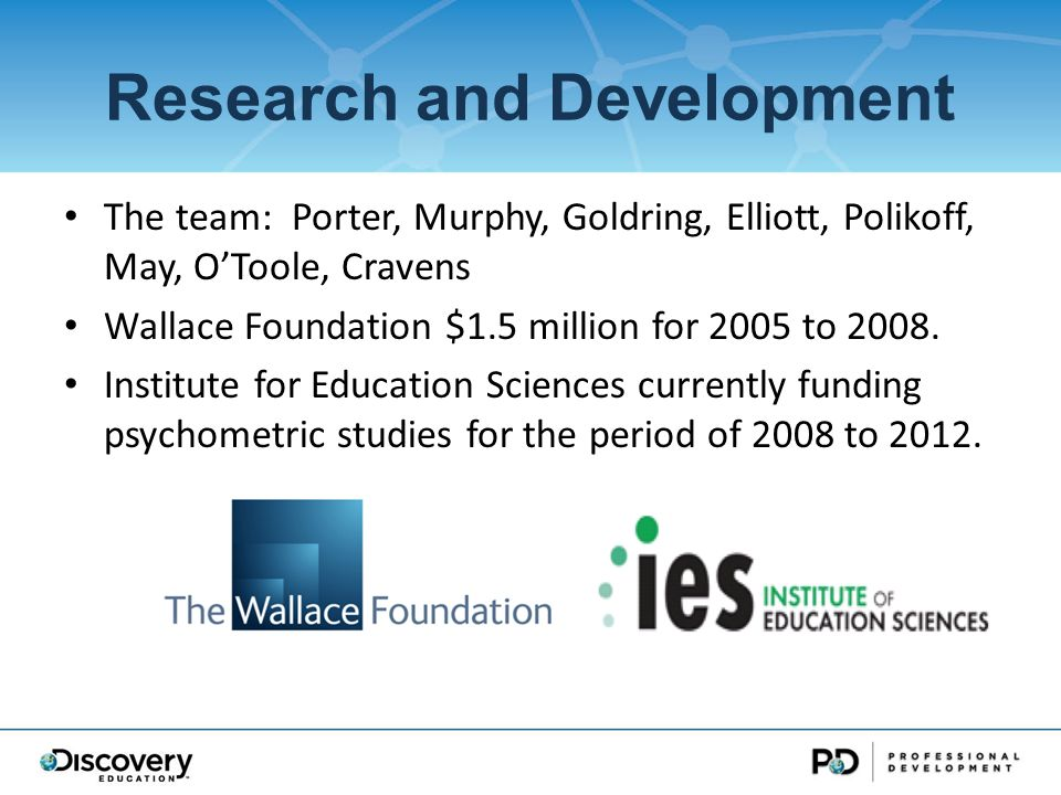 Research and Development The team: Porter, Murphy, Goldring, Elliott, Polikoff, May, OToole, Cravens Wallace Foundation $1.5 million for 2005 to 2008.