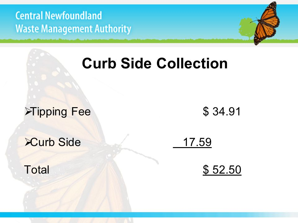 Curb Side Collection Tipping Fee$ 34.91 Curb Side 17.59 Total$ 52.50