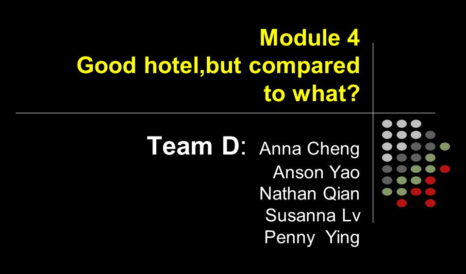 Module 4 Good hotel,but compared to what.