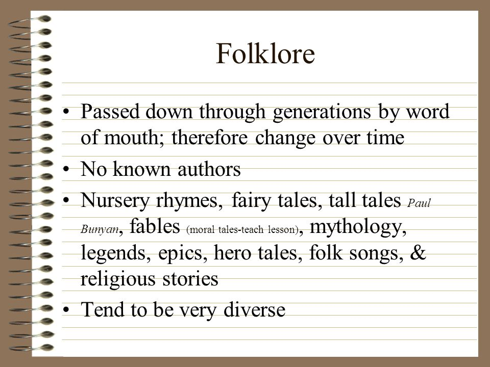 Folklore Passed down through generations by word of mouth; therefore change over time No known authors Nursery rhymes, fairy tales, tall tales Paul Bunyan, fables (moral tales-teach lesson), mythology, legends, epics, hero tales, folk songs, & religious stories Tend to be very diverse