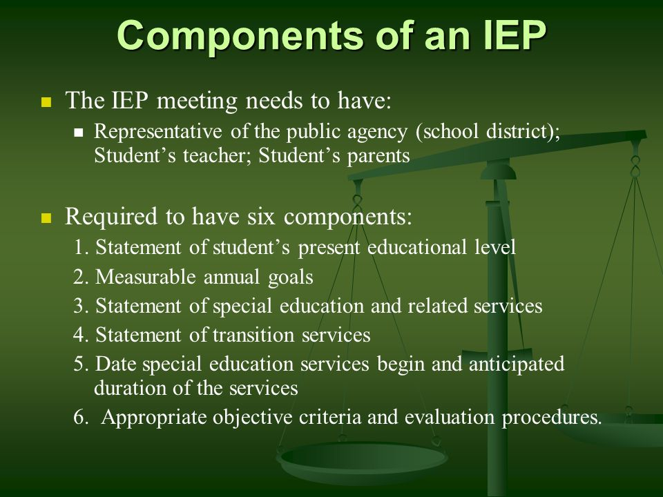 Components of an IEP The IEP meeting needs to have: Representative of the public agency (school district); Students teacher; Students parents Required to have six components: 1.