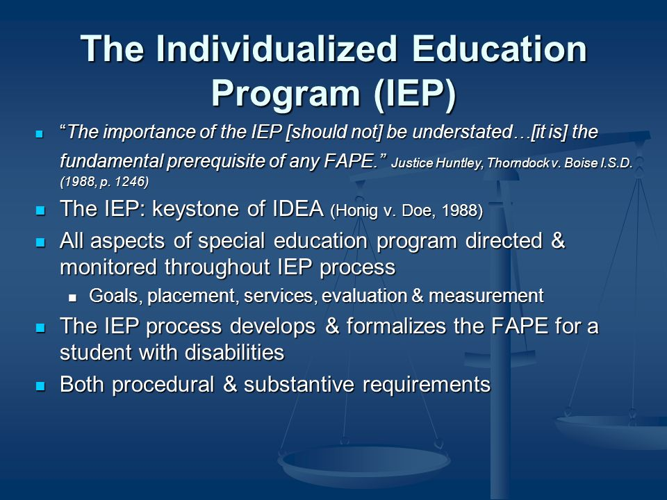 The Individualized Education Program (IEP) The importance of the IEP [should not] be understated…[it is] the fundamental prerequisite of any FAPE.