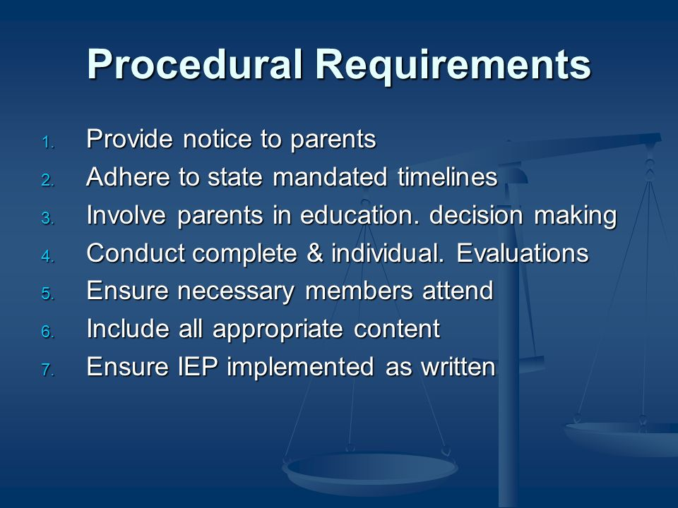 Procedural Requirements 1. Provide notice to parents 2.