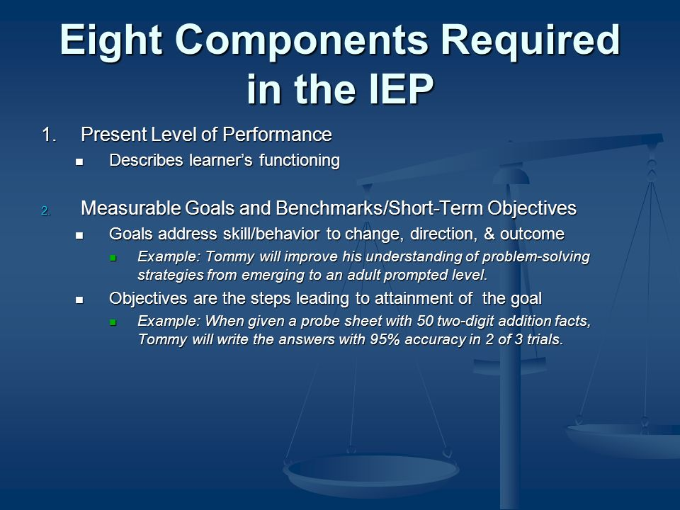 Eight Components Required in the IEP 1.Present Level of Performance Describes learners functioning Describes learners functioning 2.