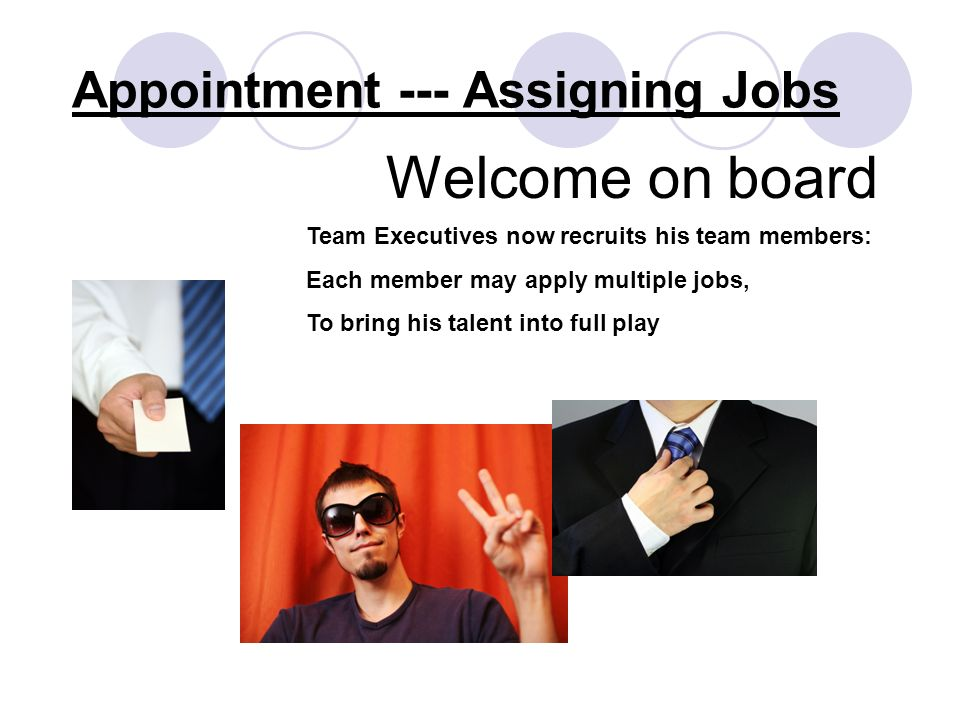 Appointment --- Assigning Jobs Welcome on board Team Executives now recruits his team members: Each member may apply multiple jobs, To bring his talent into full play