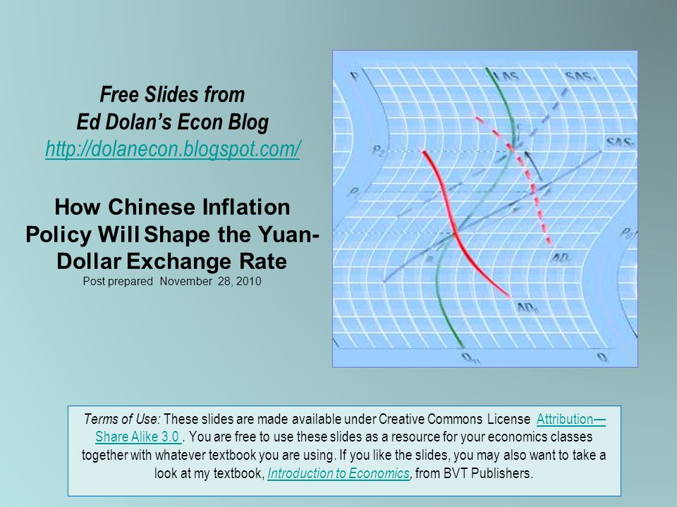 Free Slides from Ed Dolans Econ Blog   How Chinese Inflation Policy Will Shape the Yuan- Dollar Exchange Rate Post prepared November 28, Terms of Use: These slides are made available under Creative Commons License Attribution Share Alike 3.0.
