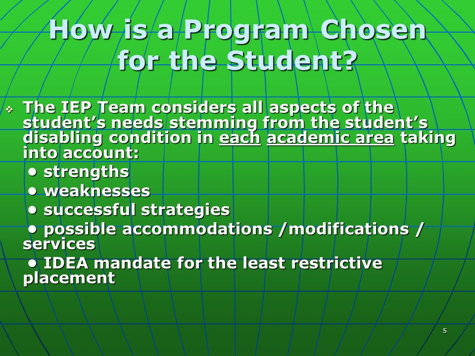 5 How is a Program Chosen for the Student.