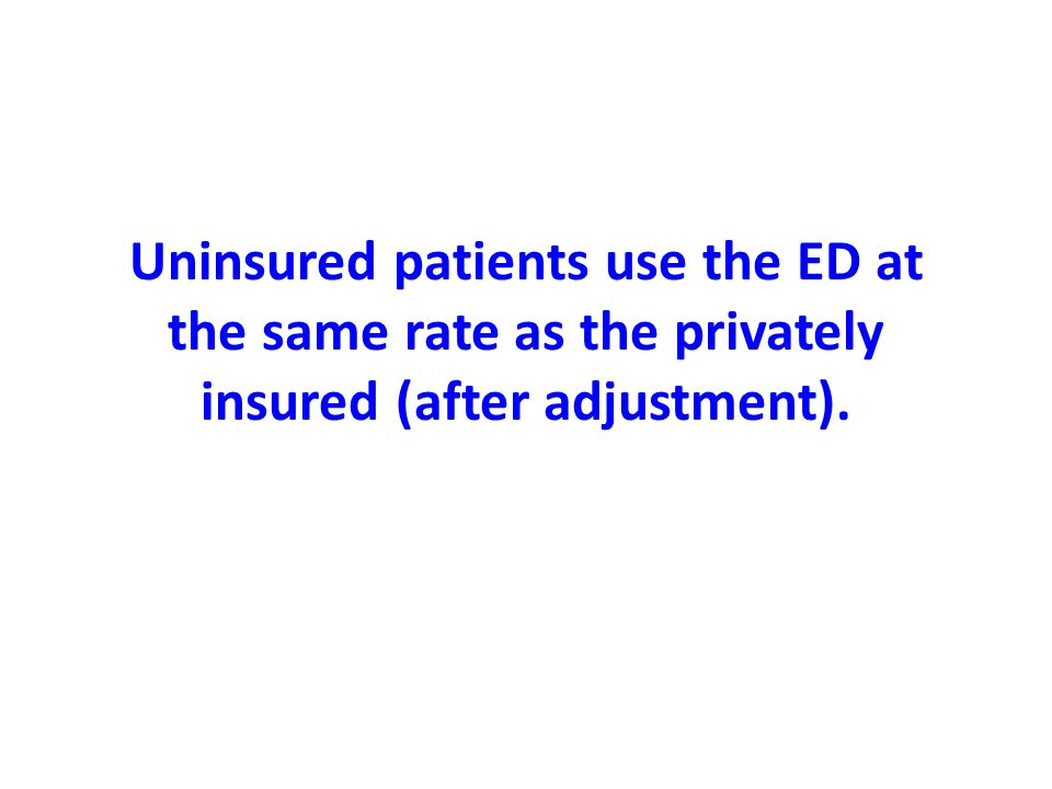 Uninsured patients use the ED at the same rate as the privately insured (after adjustment).