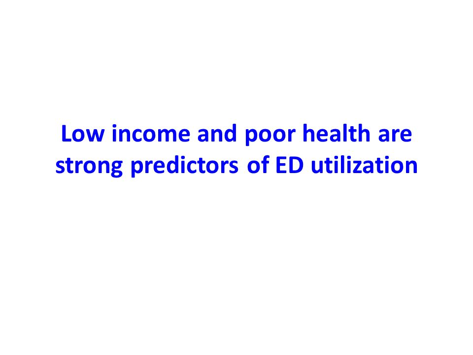 Low income and poor health are strong predictors of ED utilization