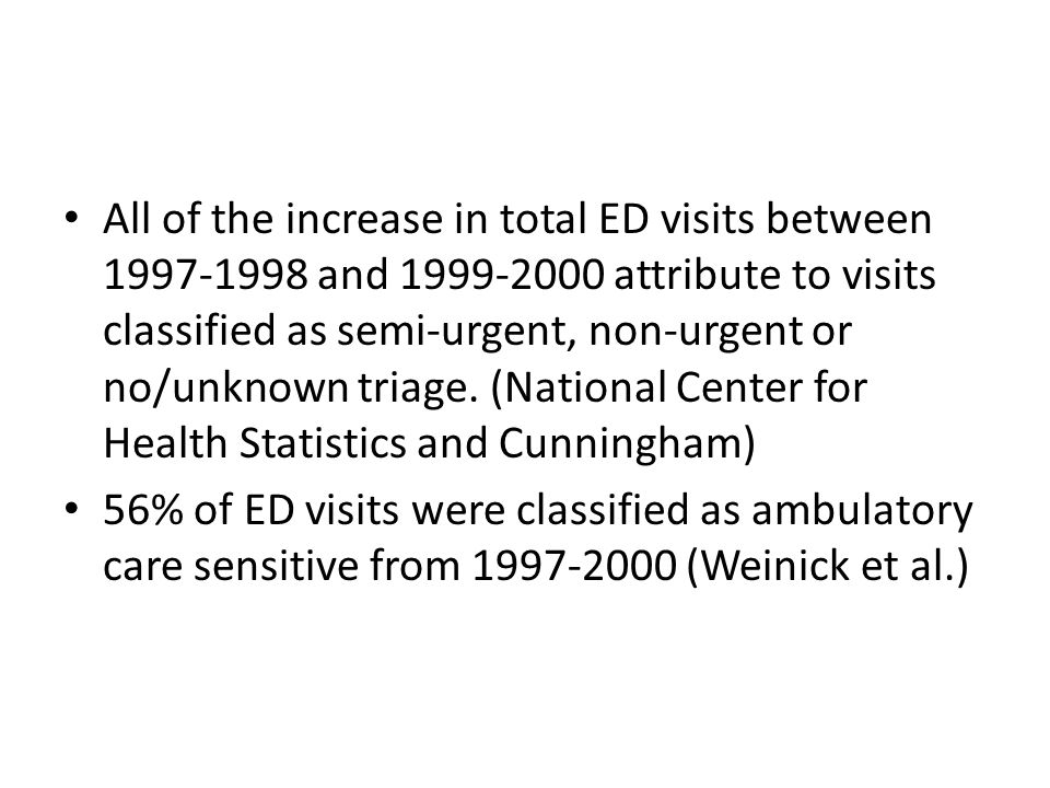 All of the increase in total ED visits between 1997-1998 and 1999-2000 attribute to visits classified as semi-urgent, non-urgent or no/unknown triage.