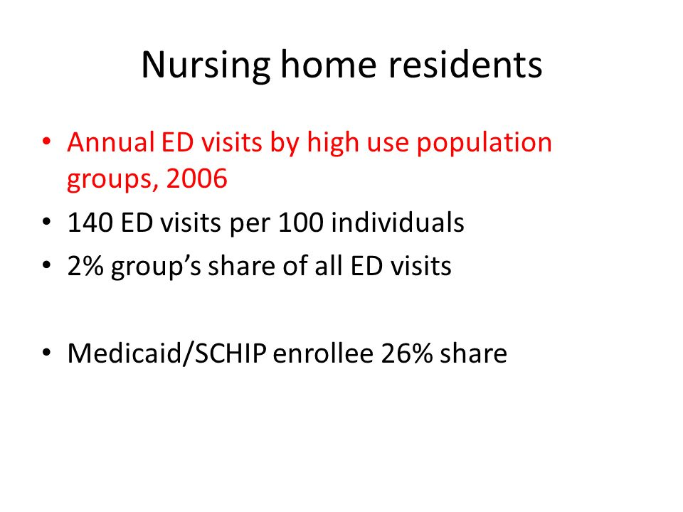 Nursing home residents Annual ED visits by high use population groups, 2006 140 ED visits per 100 individuals 2% groups share of all ED visits Medicaid/SCHIP enrollee 26% share