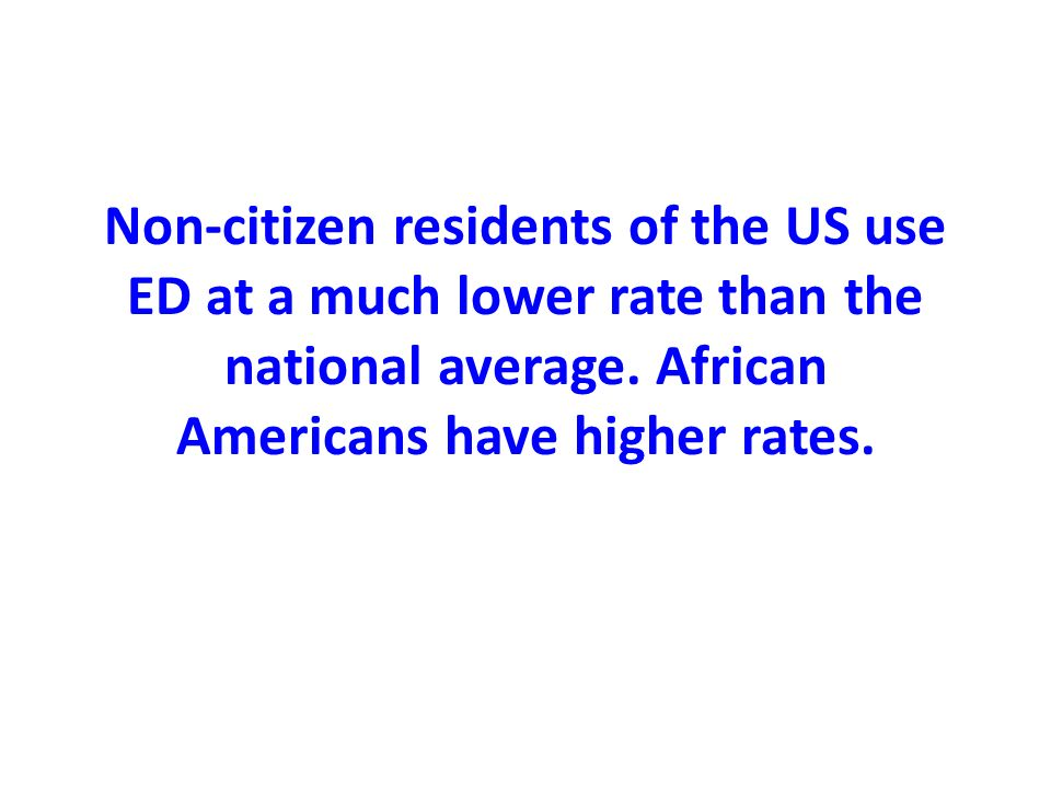 Non-citizen residents of the US use ED at a much lower rate than the national average.