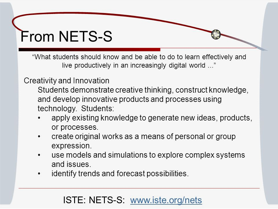 From NETS-S What students should know and be able to do to learn effectively and live productively in an increasingly digital world...