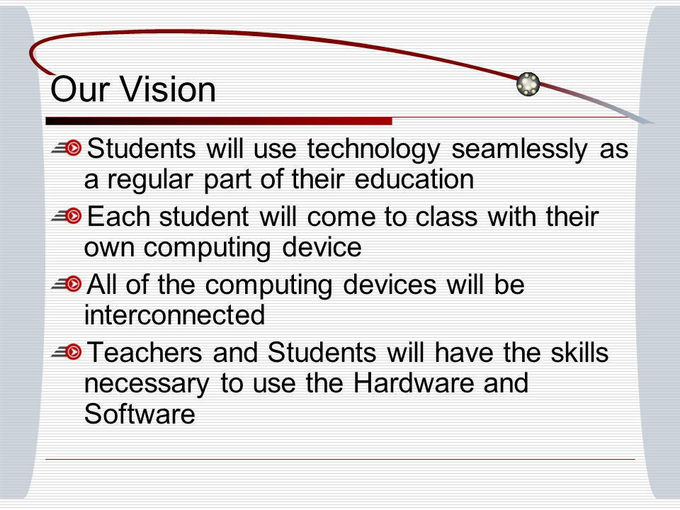 Our Vision Students will use technology seamlessly as a regular part of their education Each student will come to class with their own computing device All of the computing devices will be interconnected Teachers and Students will have the skills necessary to use the Hardware and Software