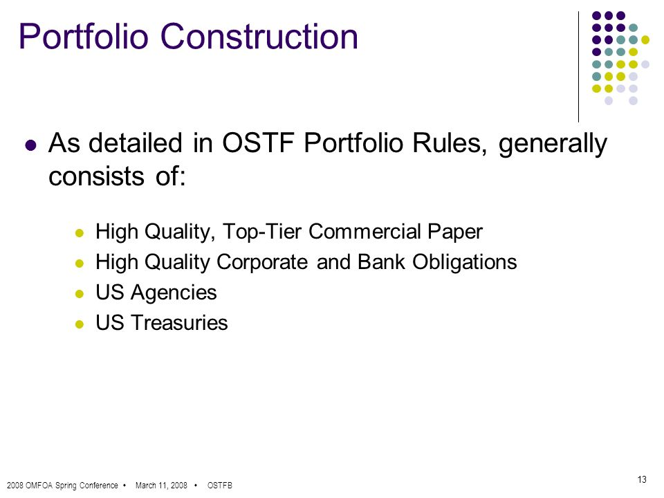 2008 OMFOA Spring Conference March 11, 2008 OSTFB 13 Portfolio Construction As detailed in OSTF Portfolio Rules, generally consists of: High Quality, Top-Tier Commercial Paper High Quality Corporate and Bank Obligations US Agencies US Treasuries