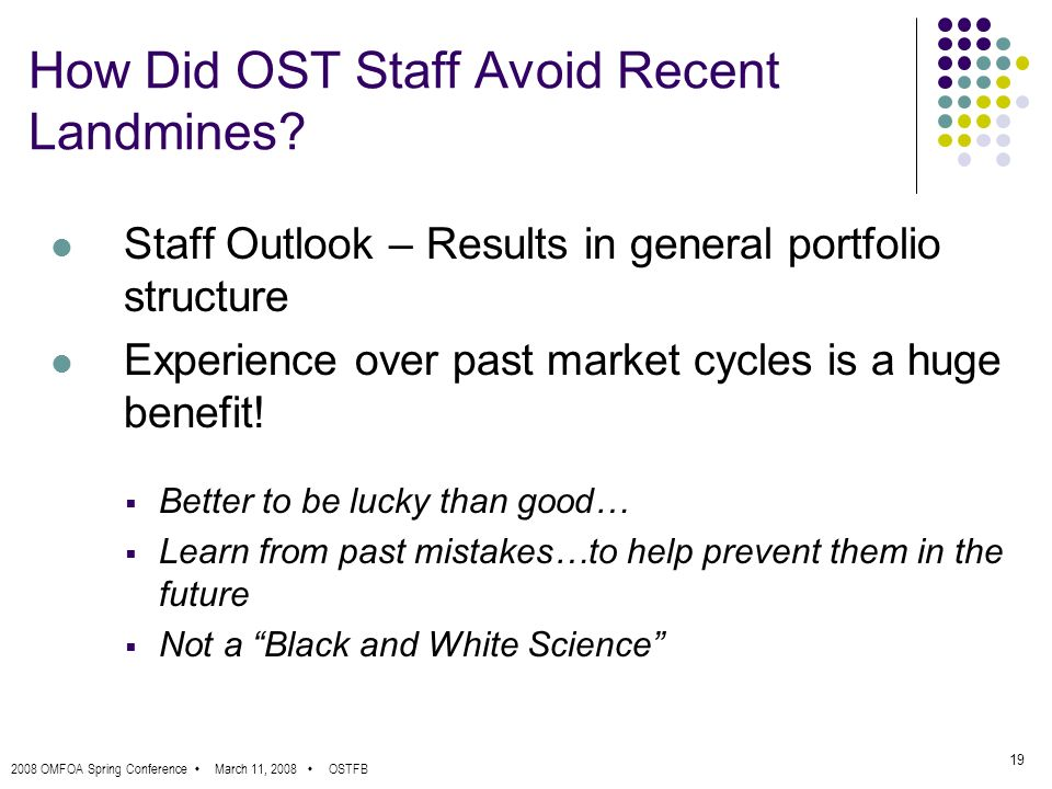 2008 OMFOA Spring Conference March 11, 2008 OSTFB 19 How Did OST Staff Avoid Recent Landmines.