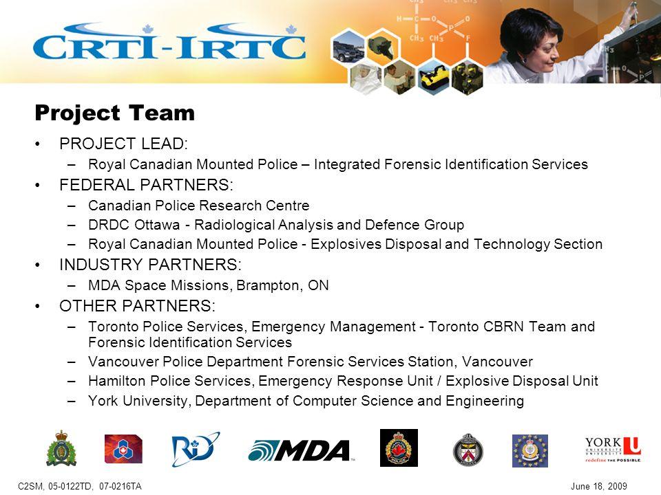 C2SM, TD, TAJune 18, 2009 CBRN Crime Scene Modeler (C2SM) TD