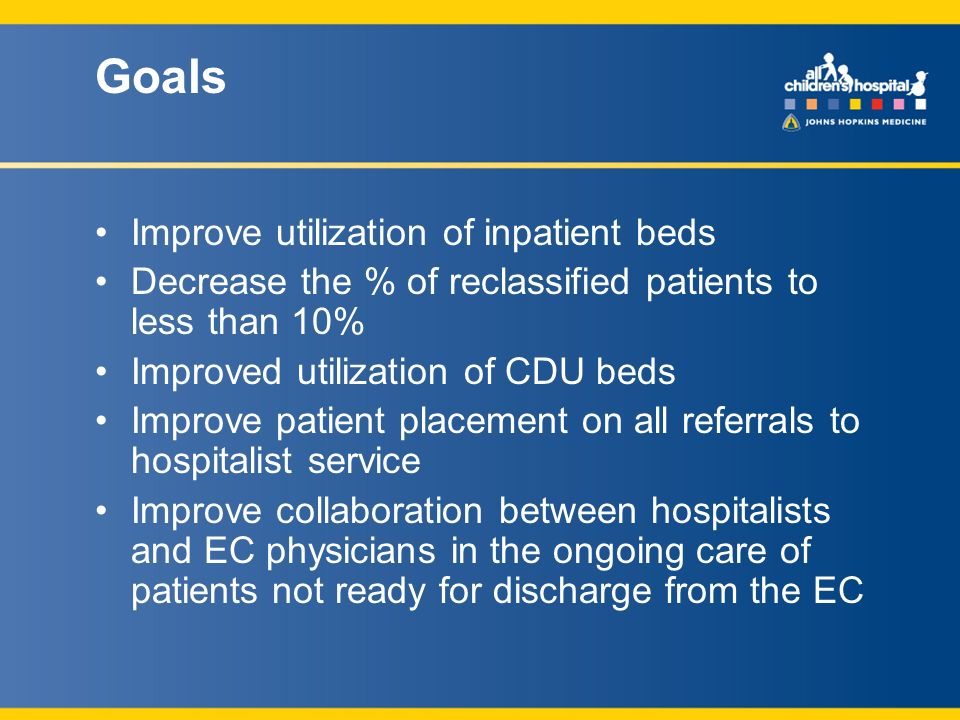 Goals Improve utilization of inpatient beds Decrease the % of reclassified patients to less than 10% Improved utilization of CDU beds Improve patient placement on all referrals to hospitalist service Improve collaboration between hospitalists and EC physicians in the ongoing care of patients not ready for discharge from the EC