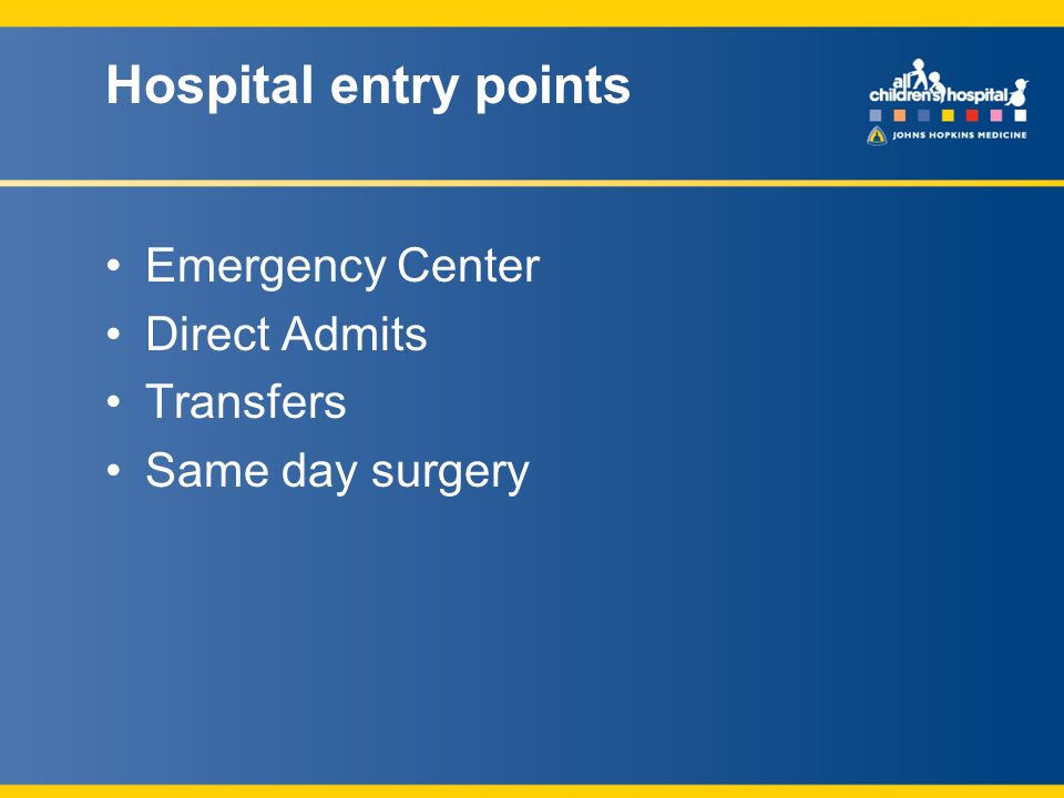 Hospital entry points Emergency Center Direct Admits Transfers Same day surgery