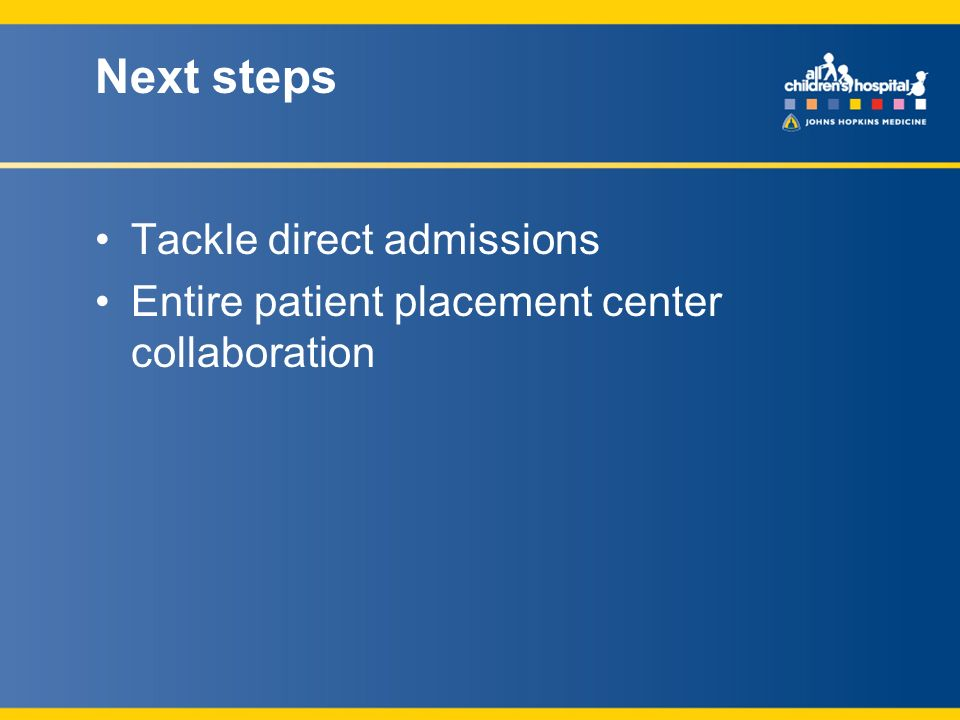Next steps Tackle direct admissions Entire patient placement center collaboration